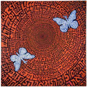 1347 parpar volo d'amore - tempere acriliche su tela, cm 80×80,