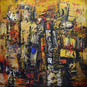 3 Salgo negli alti cubi della città, 2014, tecnica mista su tela, cm 150x150