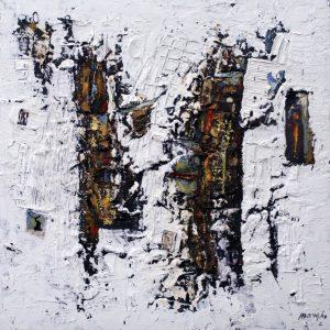 4 Le torri romaniche, 2018, tecnica mista su tela, cm 150x150
