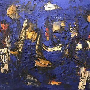 7 Rapsodia in blu, 2018 tecnica mista su tela cm 100 x 120