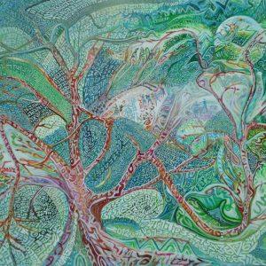 Abdallah Khaled - Tobia Ravà 2012, Germoglio di speranza, resine e tempere acriliche su tela cm 100 x 120 (1)