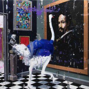Angelo Accardi Misplaced Velazquez cm 50 x 50, tecnica mista su tela, Zanini Arte
