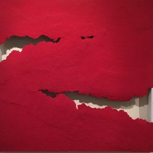 Crevice rosso, tecnica mista su tela, cm. 78 x 81