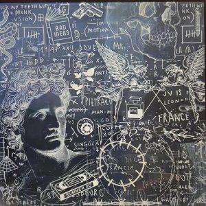 Giordan Rubio, Untitled tecnica mista su tela 100 x 100, Zanini Arte