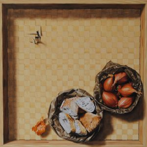 Japanese whispers, olio su tela cm 55 x 55 x 10