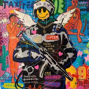 Jisbar, 2019, Happy Cops, Mixed Media on Canvas, 100x81cm
