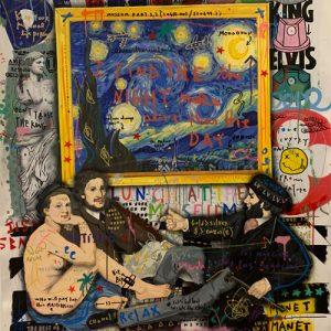 Jisbar, 2020, Lunch at the museum, 1 Mixed Media on Canvas, 130x97cm Zanini Arte