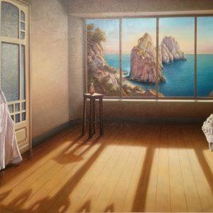 La casa sul mare, olio su tela cm. 70 x 100