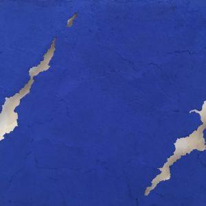 Oltre il muro azzurro blu,tecnica mista su tela, cm. 80 x 100