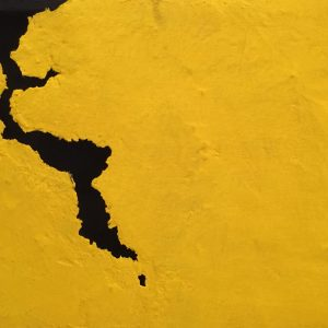Oltre il muro giallo, tecnica mista su tela, cm. 40 x 60