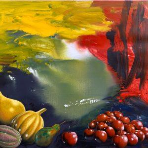 Paesaggio mentale, tecnica mista su tela, cm 120 x 100 2000