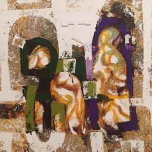 Pietà, tecnica mista su tela, cm. 50 x 50