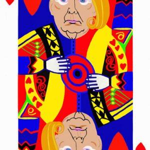 Poker face, Re di cuori, Trump,tecnica mista su tela cm. 130 x 83
