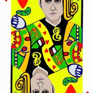 Poker face, fante cuori, Di Maio, tecnica mista su tela cm.130 x 83