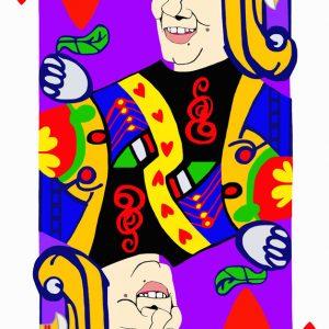 Poker face, fante cuori, Renzi, tecnica mista su tela cm.130 x 83