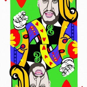 Poker face, fante cuori, Salvini, tecnica mista su tela cm.130 x 83