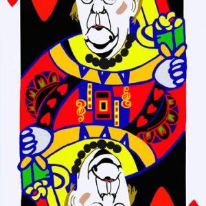 Poker face, regina cuori, Merkel, tecnica mista su tela cm.130 x 83