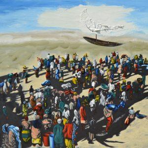Sbarco di profughi a Lampedusa, tecnica mista su tela cm 120 x 150 1994