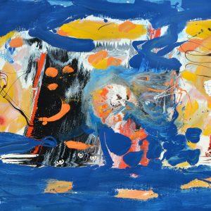 Sintesi di un concetto realizzato, tecnica mista su tela, cm. 145 x 250 1984