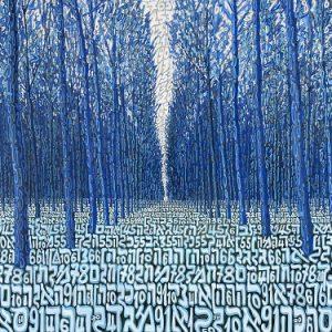 Tobia Rava Bosco dei triangoli azzurri multiplo in raso 55x70 zanini arte