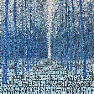 Tobia Rava Foresta profetica, profezia della foresta sublimazione su raso acrilico 110 x 110 zanini arte